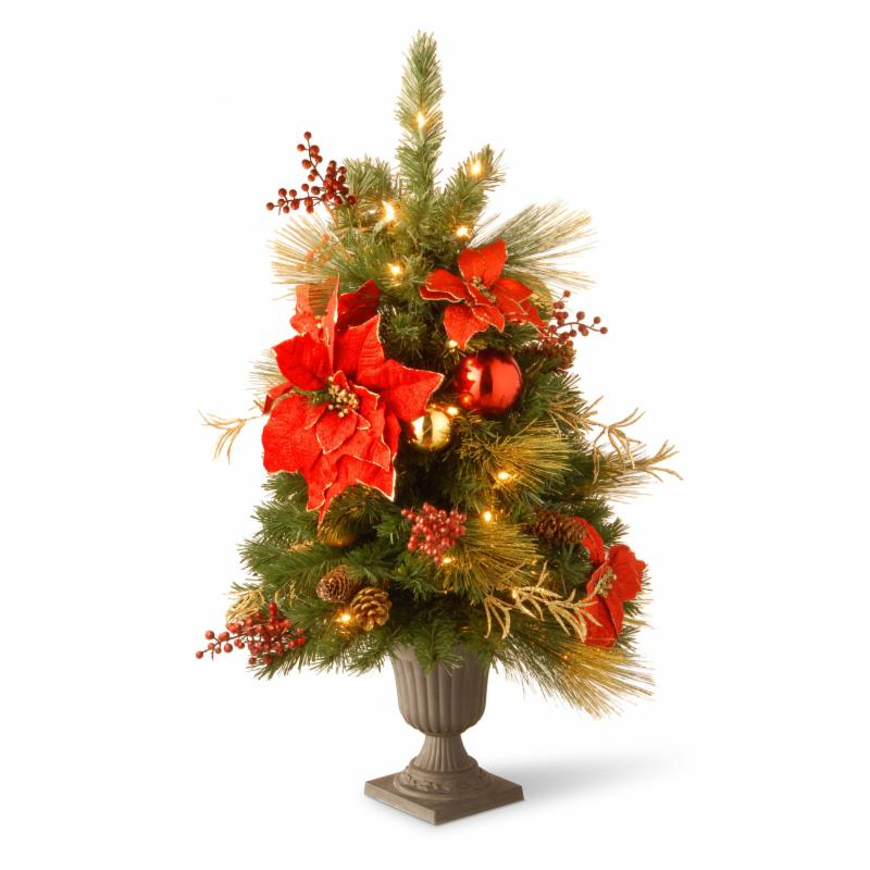3 ft. Decorative Collection Home Spun Entrance Pre-Lit Potted Christmas Tree