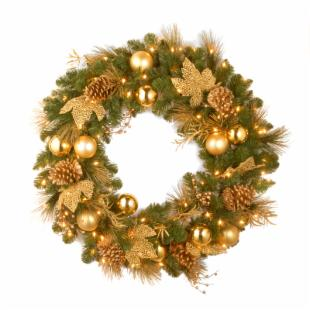 36 in. Decorative Collection Elegance Pre-Lit Christmas Wreath