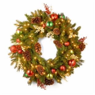 30 in. Decorative Collection Home For the Holidays Pre-Lit Christmas Wreath