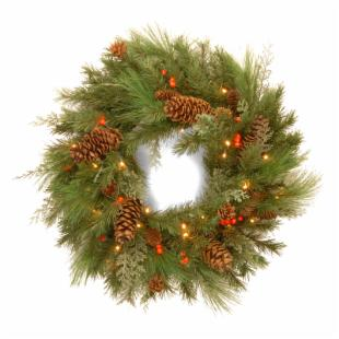 30 in. Decorative Collection White Pine Pre-Lit LED Christmas Wreath - Battery Operated