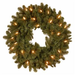 24 in. Feel-Real Noble Deluxe Fir Pre-Lit LED Christmas Wreath
