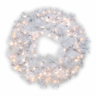 30 in. Wispy Willow Grande White Pre-Lit Christmas Wreath with Silver Glitter
