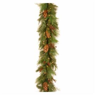 6 ft. White Pine Pre-Lit LED Garland