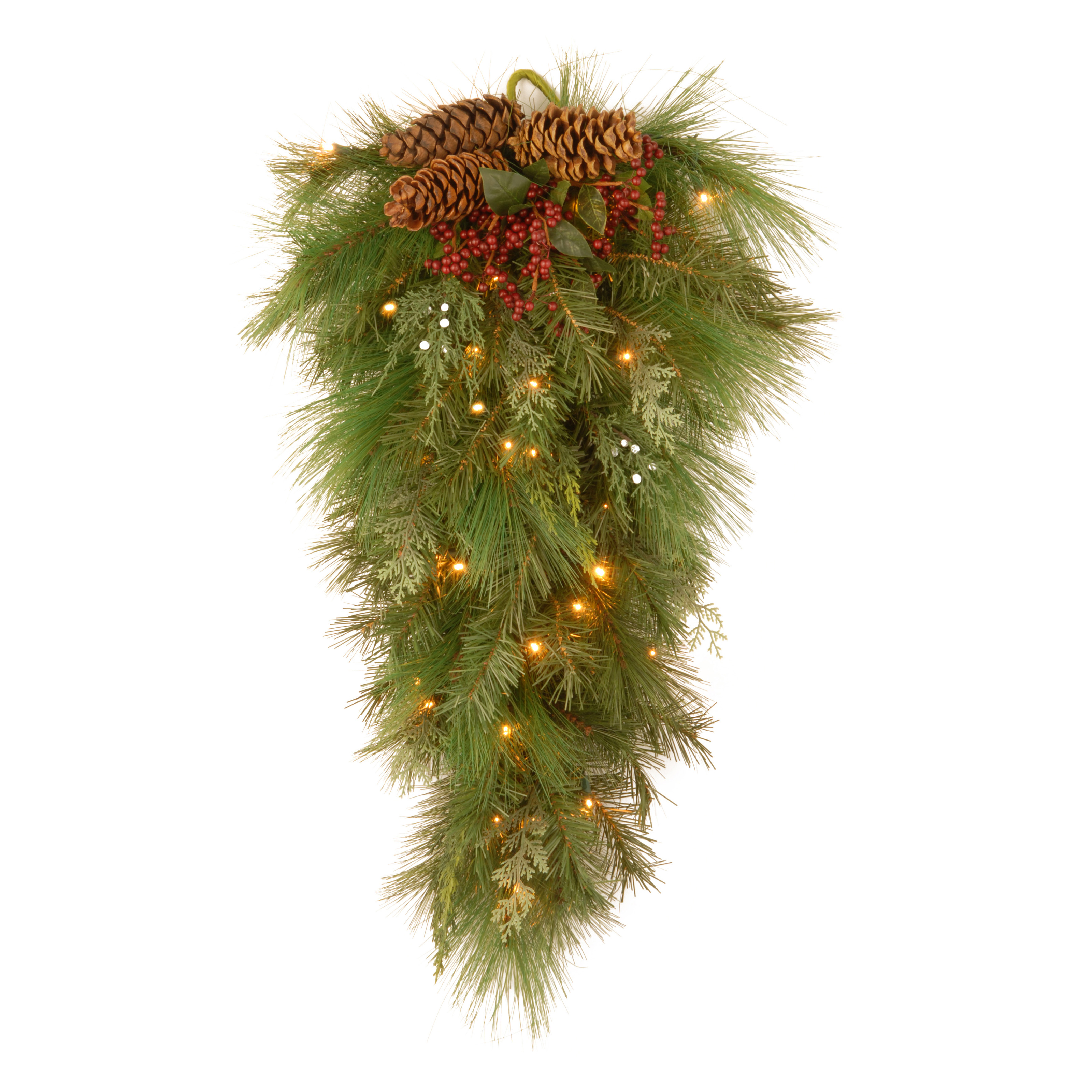 2.3 ft. White Pine Wall Pre Lit LED Teardrop Garland   Battery Operated   Christmas Swags