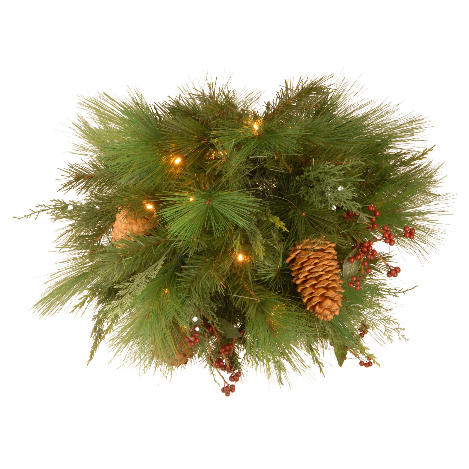 20 in. White Pine Pre Lit LED Kissing Ball   Battery Operated   Wreaths