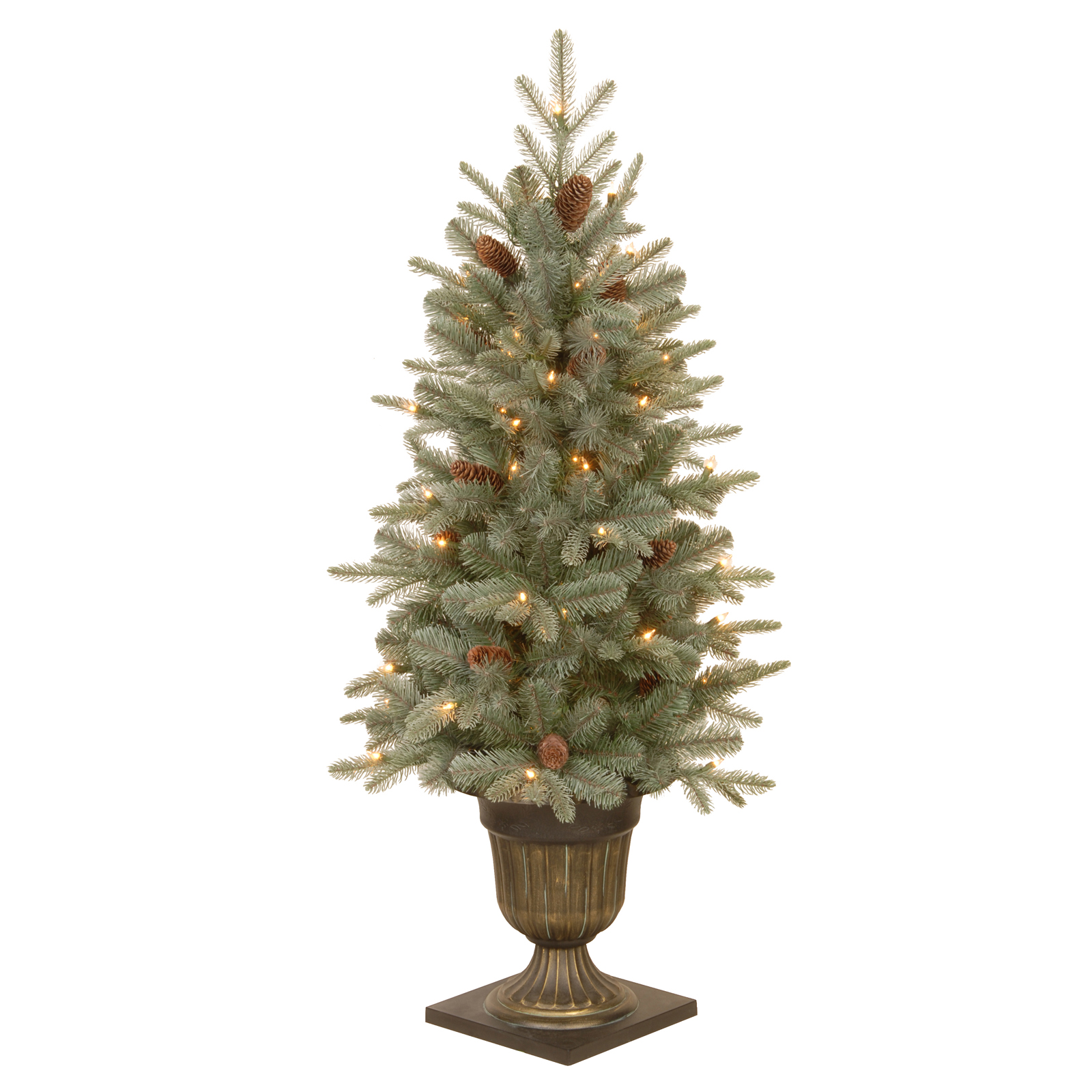 Frosted Slim Christmas Tree: 4 Ft. Feel-Real Frosted Artic Spruce Pine Pre-lit Medium