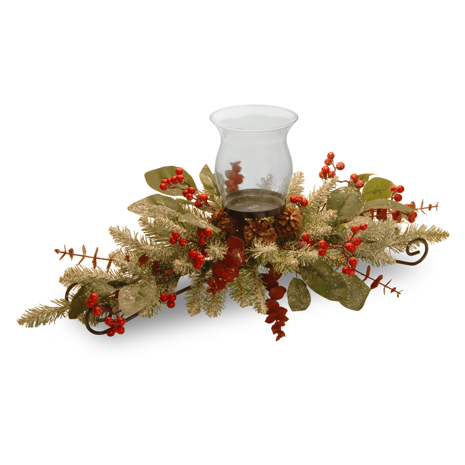 In eucalyptus candle holder centerpiece christmas