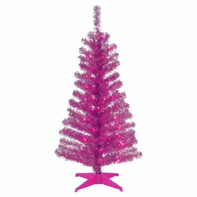4 ft. Pink Tinsel Pre-Lit Full Christmas Tree