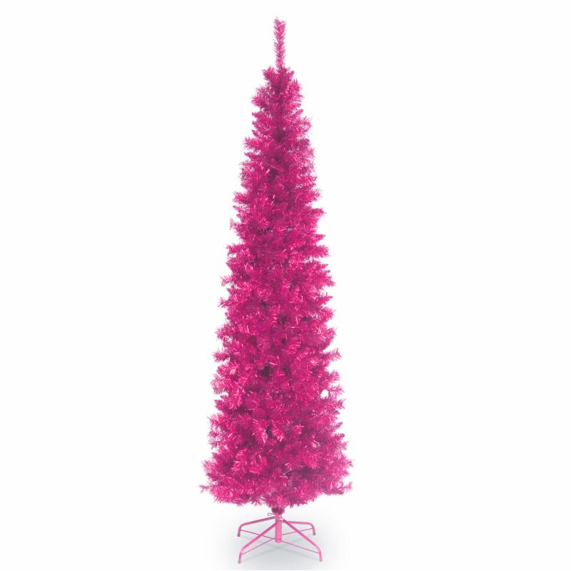 6 ft. Pink Tinsel Wrapped Unlit Full Christmas Tree