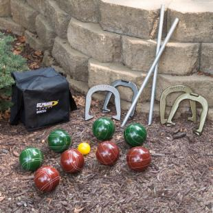 St. Pierre Combination 107mm Bocce Ball and Horseshoe Set