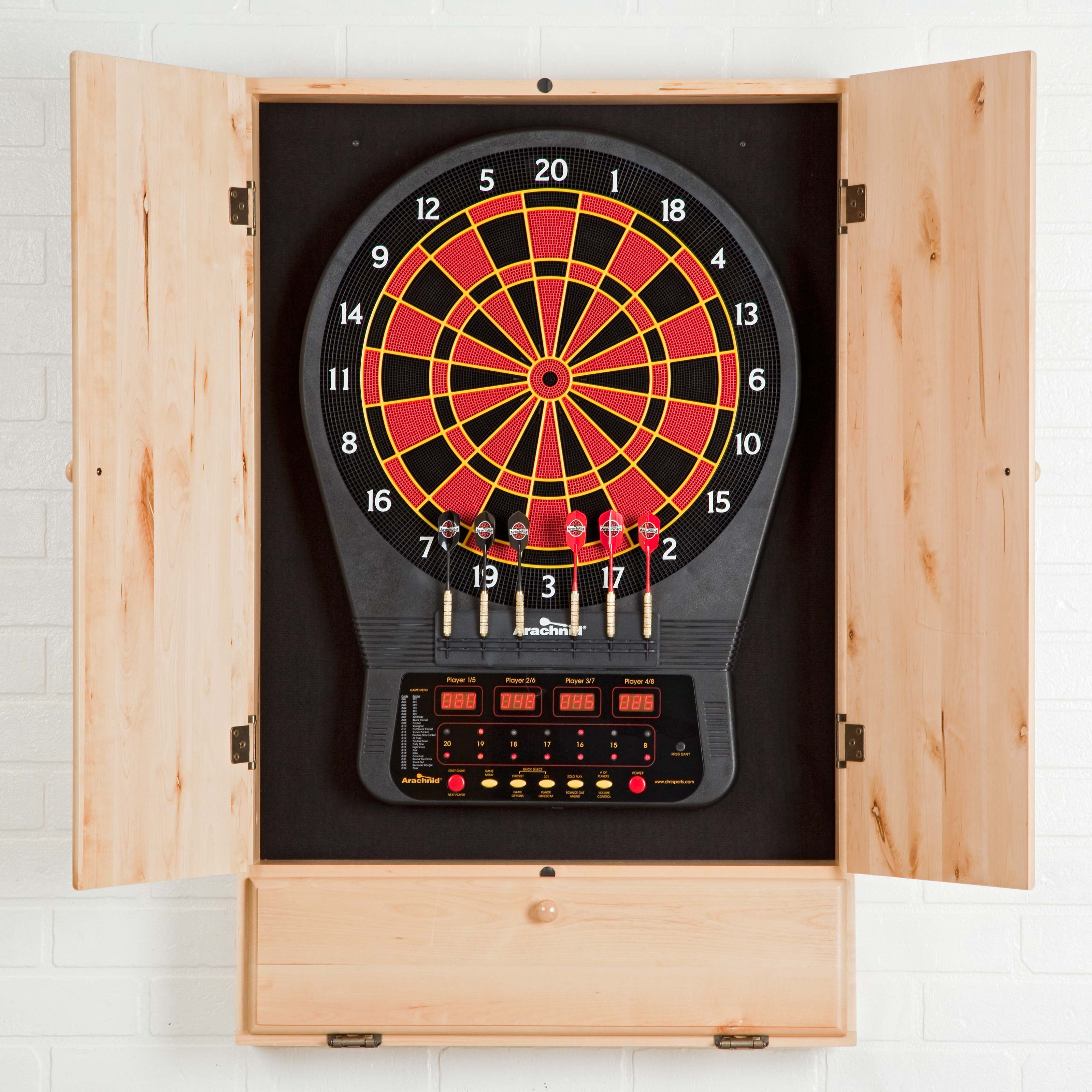arachnid cricketpro 650 electronic dartboard with cabinet electronic dart boards at hayneedle