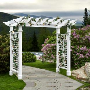 New England Arbors Fairfield Grande 7.25-ft. Vinyl Pergola Arbor