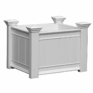 New England Arbors White Rectangle Vinyl Barcelona Planter Box