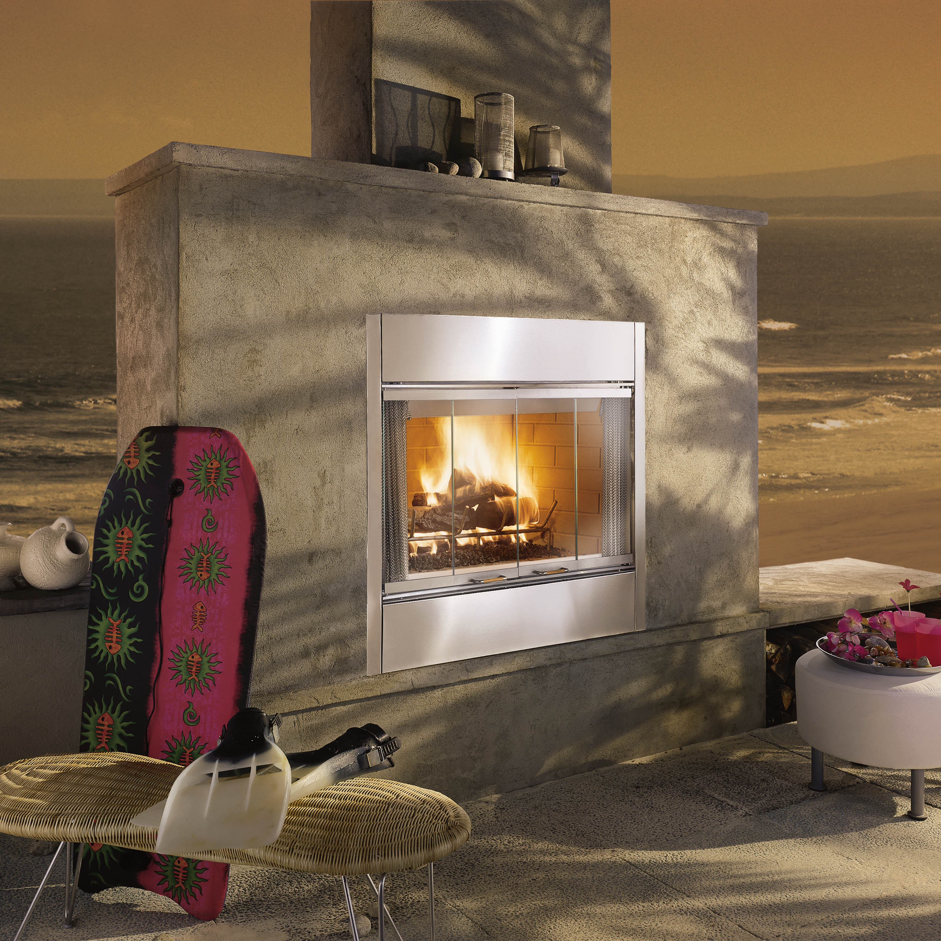 Majestic Al Fresco Wood Burning Outdoor Fireplace Insert With Optional Door Kit At Hayneedle
