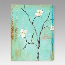  Dogwood on Turquoise I Indoor/Outdoor Canvas Print by Laura Gunn