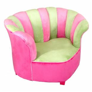 Harmony Kids Sweetheart Chair Minky - Green/Hot Pink