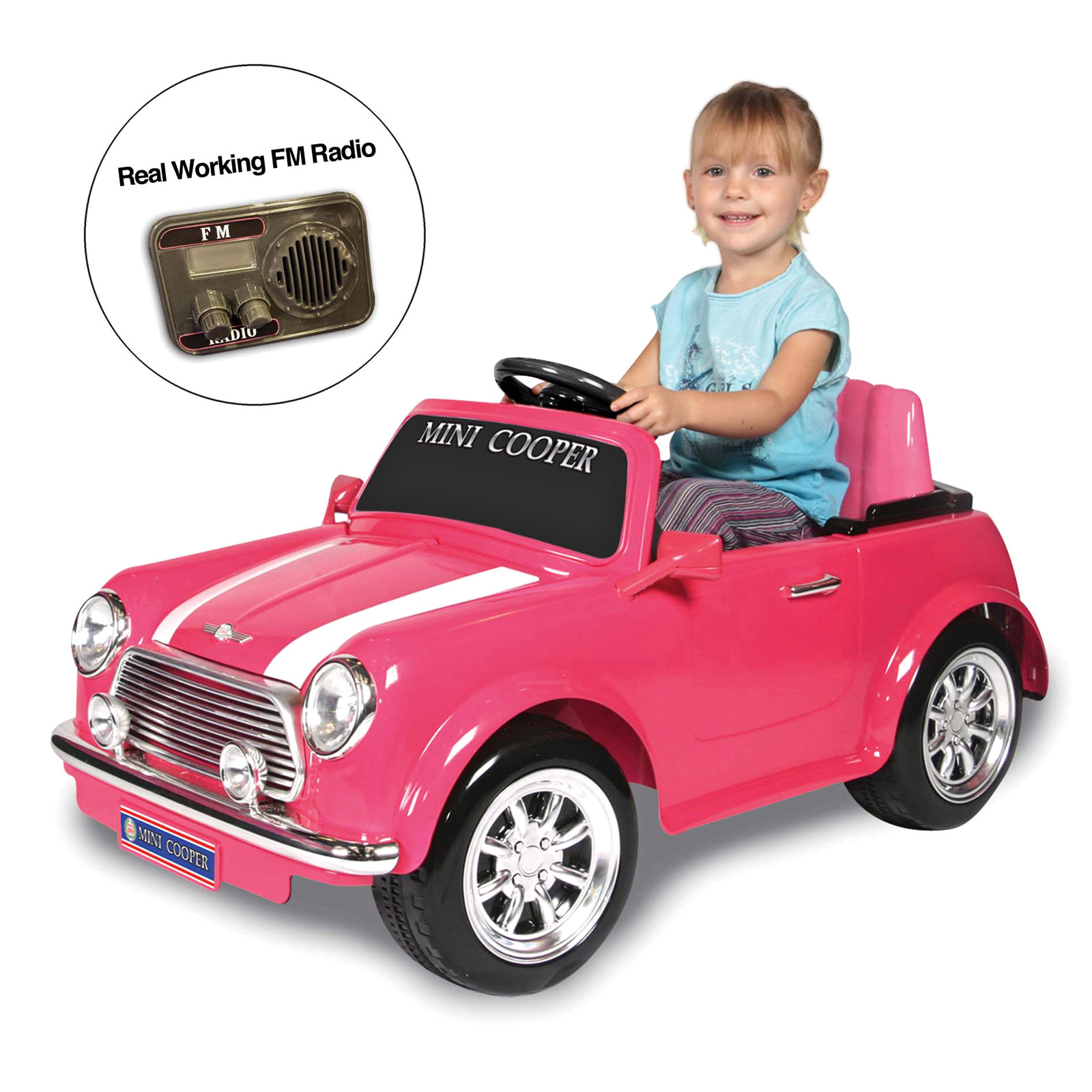 kid motorz mini cooper with radio battery powered riding toy pink at hayneedle. Black Bedroom Furniture Sets. Home Design Ideas