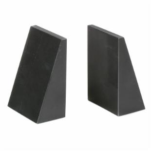 Jet Black Tapered Marble Bookends