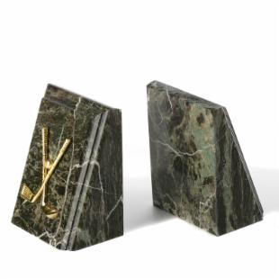 Jade Green Golf Bevel Marble Bookends