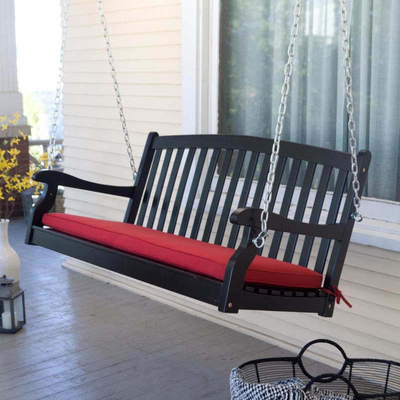 Coral Coast Pleasant Bay Curved-Back Porch Swing, 4-Ft Black, 5-Ft Also Available FREE Shipping!