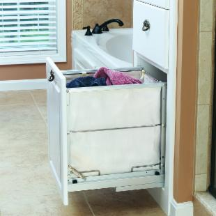 Rev-A-Shelf R5590-15CR Aluminum frame Pull-Out Hamper with Cloth Liner