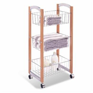 Neu Home Concord 3-Tier Storage Cart - Chrome and Natural Finish