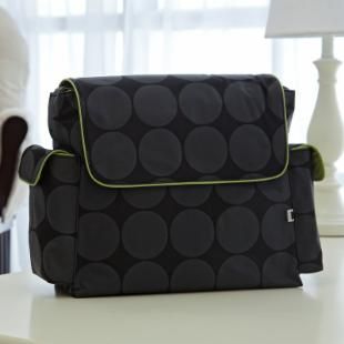 OiOi Messenger Diaper Bag-Lime Dot