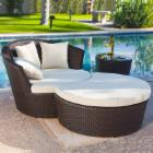 Outback Co. Palm Bay Wicker Lounge Chair with Ottoman and End Table