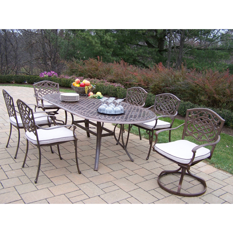 Oakland Living Mississippi Cast Aluminum 82 x 42 in. Oval Patio Dining Set with Swivel Chairs   Seats 6   Patio Dining Sets