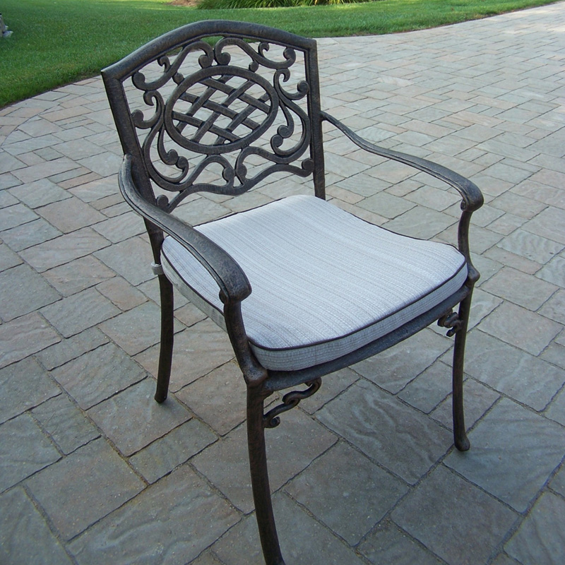 Oakland Living Mississippi Cast Aluminum Fully Welded Dining Arm Chair   Outdoor Dining Chairs