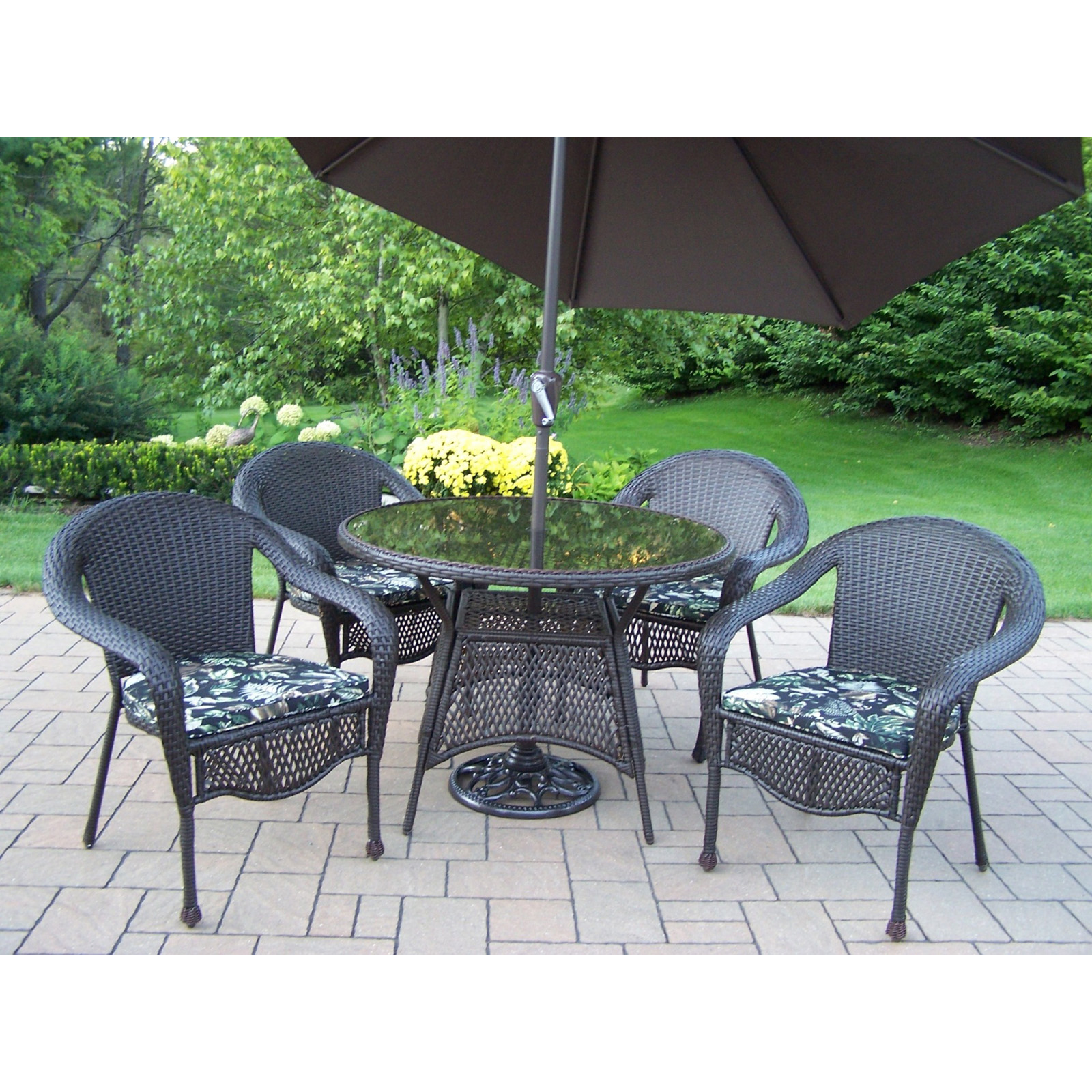 Oakland living elite all weather wicker patio dining set for Patio furniture sets with umbrella