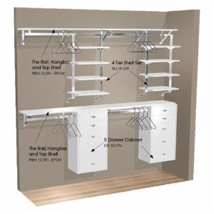 Arrange A Space 91 in. Double Hang Wall Closet with 8 Shelves and 2 Cabinets