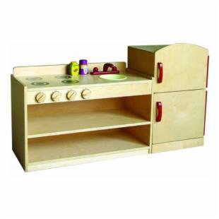 A+ Childsupply Toddler Play Kitchen Set - Fridge & Stove with Sink