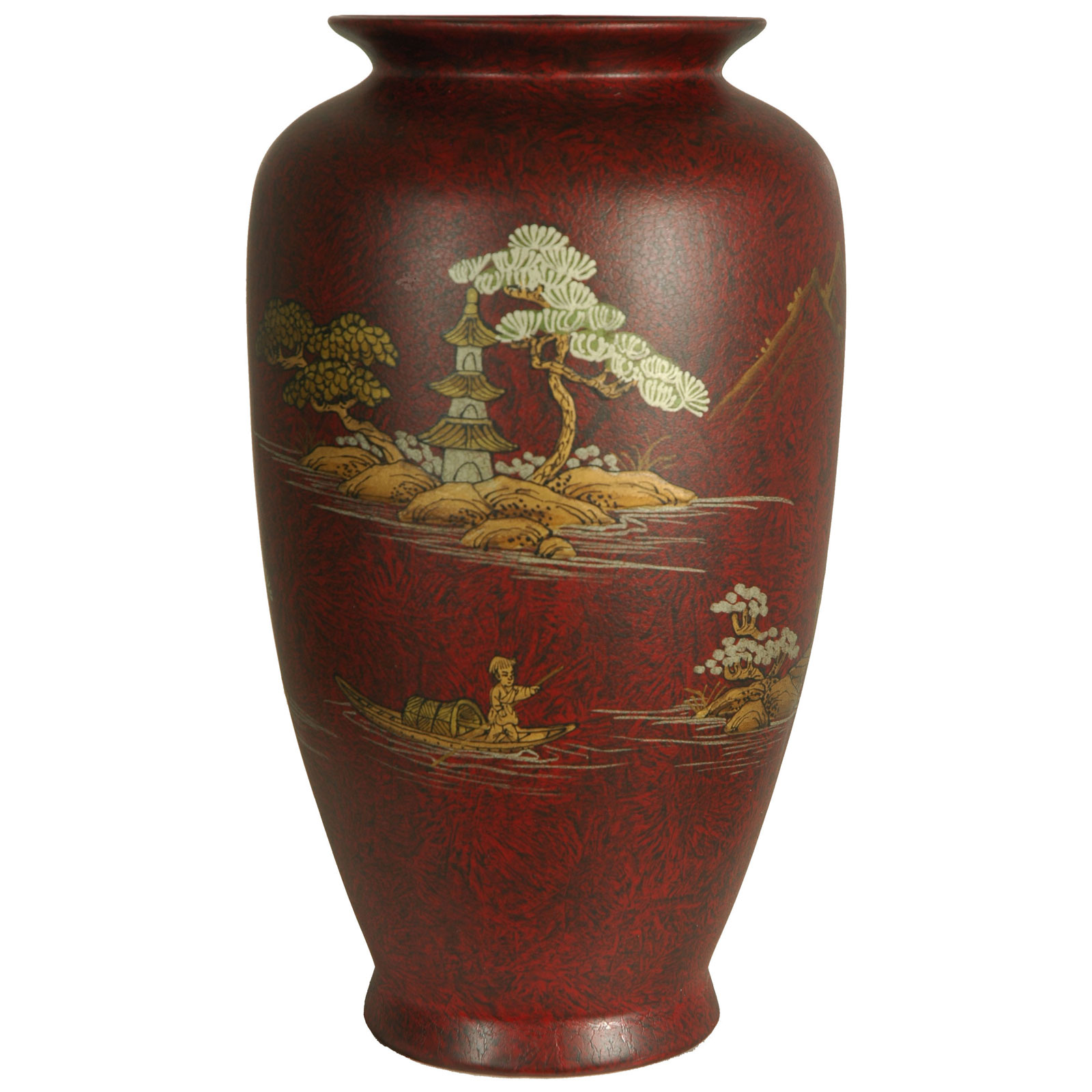 Oriental furniture 12h in red tung chi porcelain vase for Oriental vase and furniture