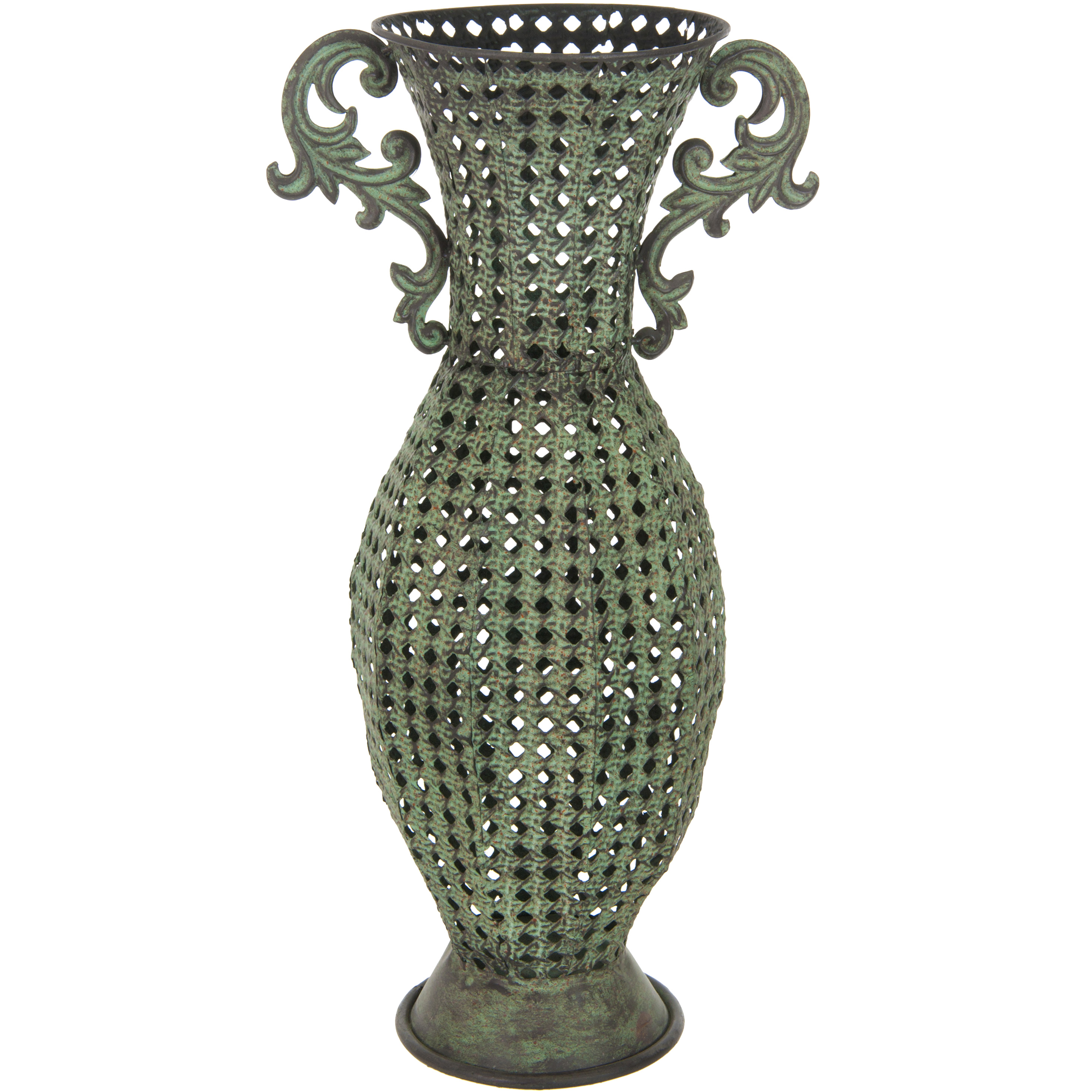 Oriental furniture wrought iron perforated floral floor for Oriental vase and furniture