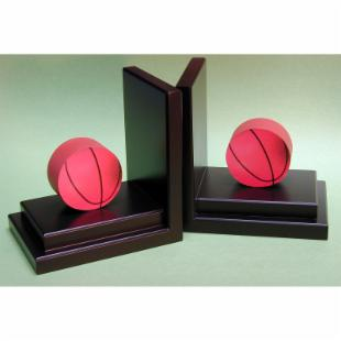 Basketball Bookends with Espresso Base