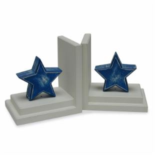 Distressed Blue Star Bookends with Distressed White Base