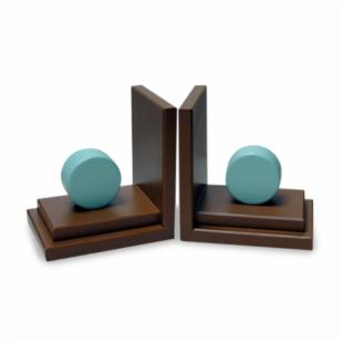 Aqua Circle Bookends with Chocolate Base