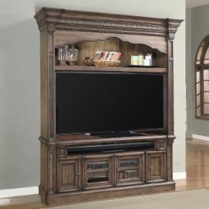 Parker House Aria Estate 79 in. 2 Piece Entertainment Center - Antique Vintage Smoked Pecan