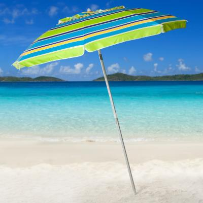 Parasol 7 ft. Lime Stripe Beach Umbrella