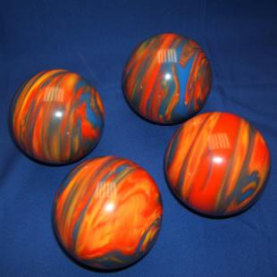 EPCO 4 Ball 107mm Personalized Tournament Set Pro Bocce Set - Marbled Orange/Blue/Yellow