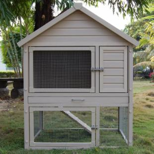 Huntington Natural Cedar Townhouse Rabbit Hutch with Pen