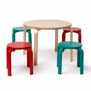 Bentwood Table and Stool Set - Color