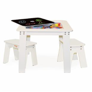 Pkolino White Chalk Table and 2 Bench Set