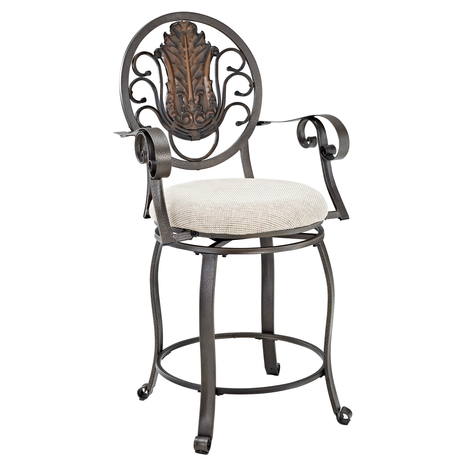 Powell Big Amp Tall Scroll Medallion Back Counter Stool With