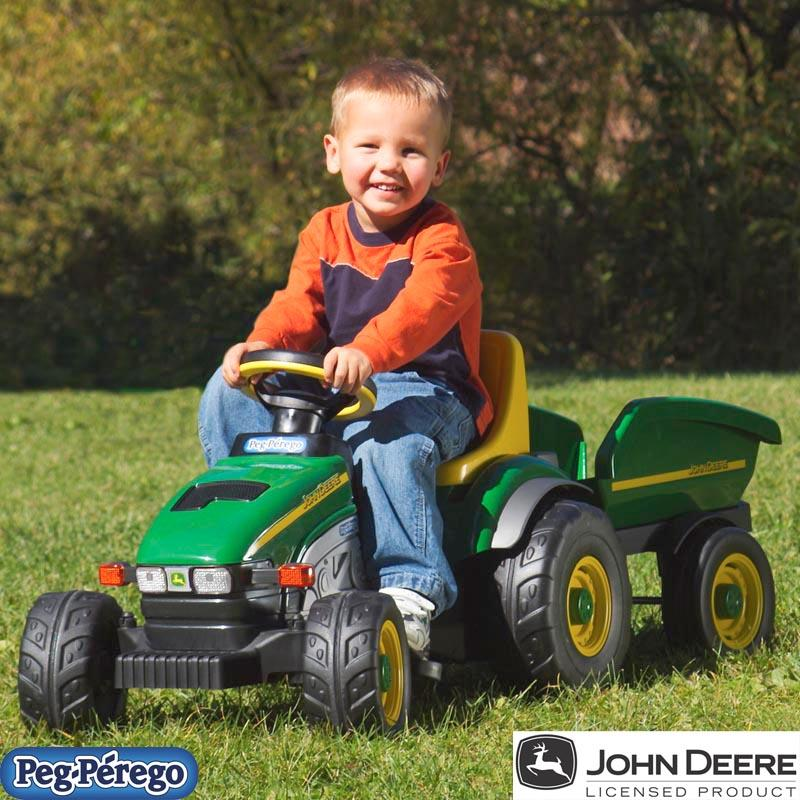 Peg Perego John Deere Farm Tractor & Trailer Pedal Riding Toy