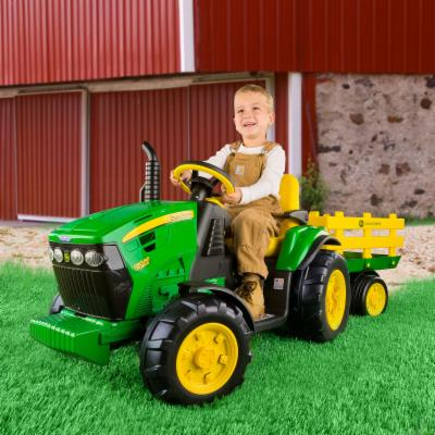  Peg Perego John Deere Battery Powered Ground Force Tractor with Trailer