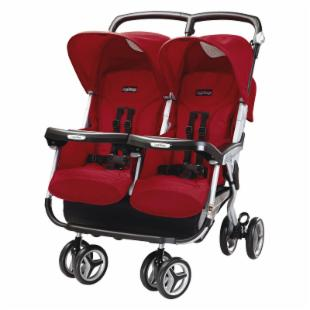 Peg Perego Aria Twin 60/40 Side by Side Stroller - Geranium