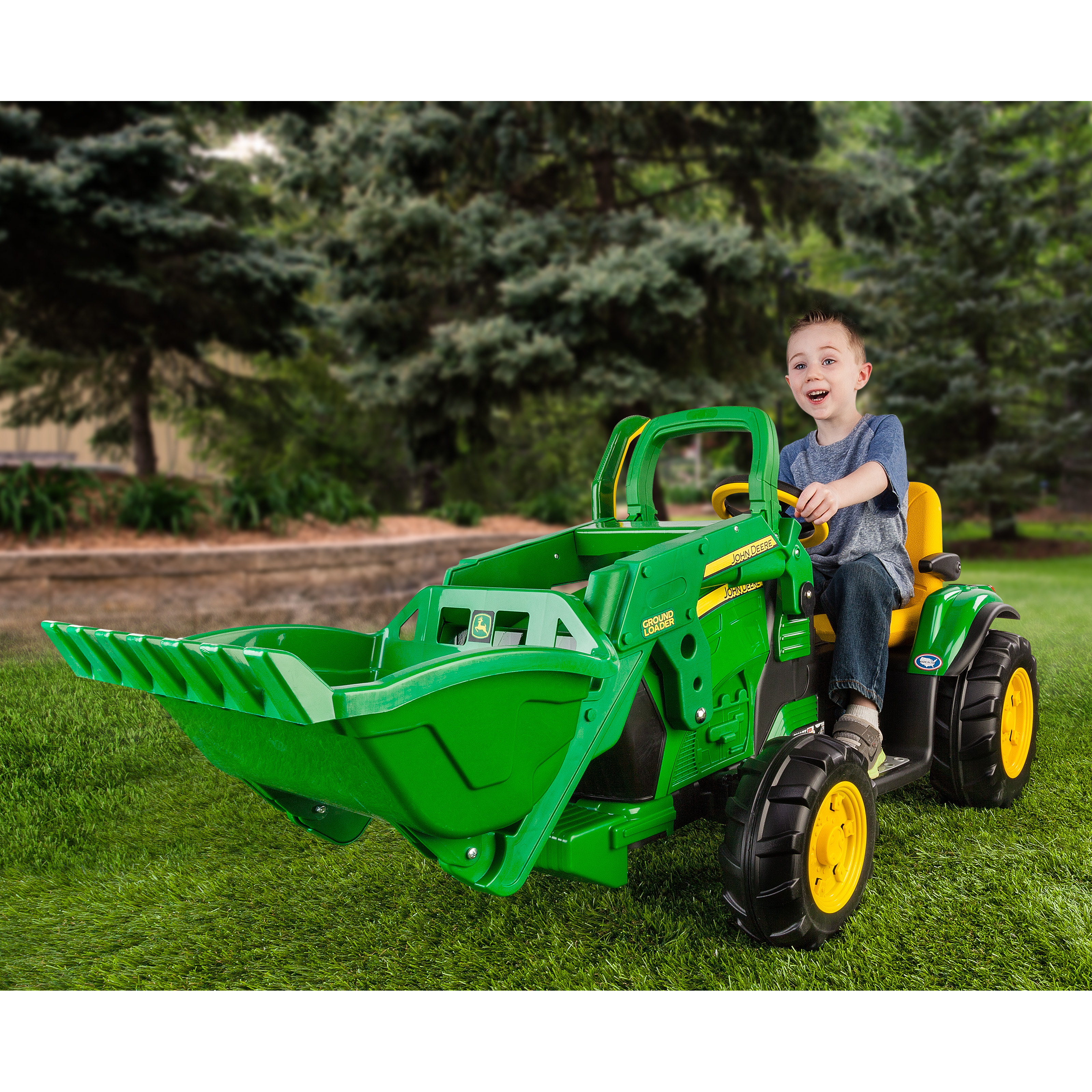 Peg perego john deere ground loader tractor battery for Motorized ride on toys for 5 year olds