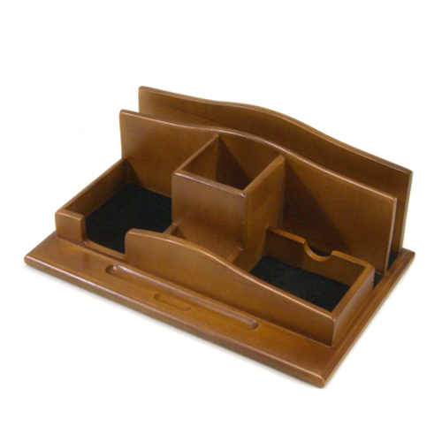 Renaissance valet organizer light walnut finish 12 5w - Wood desk organizer ...